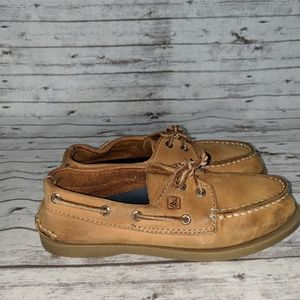 Sperry Boys SZ:1M Tan top sider Boat Shoes Lanyard